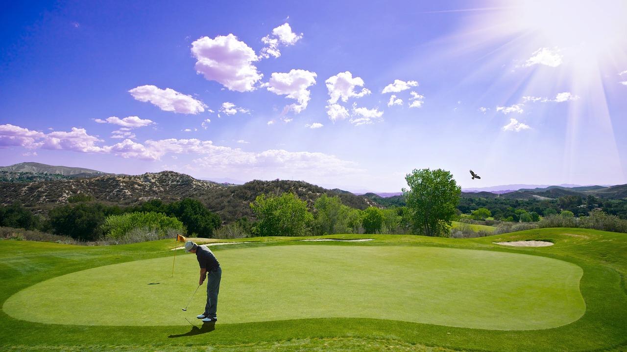 golf, sunset, sport